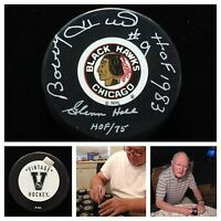 Bobby Hull Glenn Hall Chicago Blackhawks Signed Dual Autograph Hockey Puck