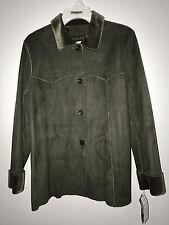 NWT HARVE BENARD Faux Suede Look Machine Washable Size 8 Olive