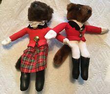Fox Hunt Pair of Huntsman and Huntswoman Stuffed Animal Doll Small