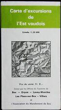 S+T FRANCE 1978 COLOURED, CONTOURED PAPER MAP of l'EST VAUDOIS 1:25 000