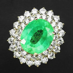 Emerald Green Oval 8.10 ct. Garnet 925 Sterling Silver Rose Gold Ring Size 6.5