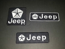 SET OF THREE MOTOR RACING SEW/IRON ON PATCHES:- JEEP (b)