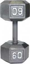 Gray Solid Hex Dumbbell 60 lbs Cast Iron Build Muscle Fitness Workout Training