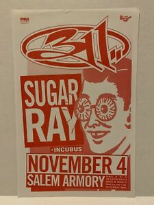 """Original 1997 311 Sugar Ray Concert Flyer Poster 11 X 17"""" Fly Beautiful Disaster"""