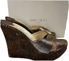 Jimmy Choo Womens Slide On Open Toe Wedge Sandals BROWN SEQUINS SZ 40 / US 10