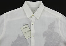 Men's MURANO White Linen with Gray Paisley Shirt XL Extra Large NEW NWoT Nice!