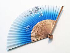 Bridal fan Japanese Bamboo Silk Hand Fan in Cherry Blossom Flower Design  Blue