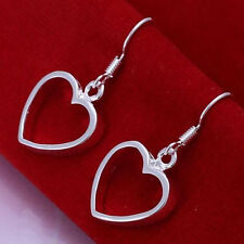 Shiny 925 Sterling Silver Plated Cut Out Hollow Heart Drop/Dangle Hook Earrings