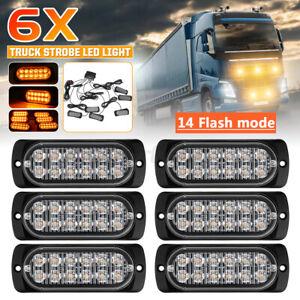6x 12 LED Emergency Strobe Flashing Grille Lights Car Truck Beacon Lamp 12V 24V