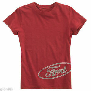NEW WOMEN'S FORD MOTOR COMPANY DISTRESSED RED SIZE SMALL TEE SHIRT!