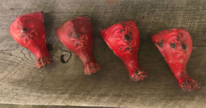 Antique Cast Iron set of 4 Matching Feet Old Man North Wind Stove Bathtub Screw