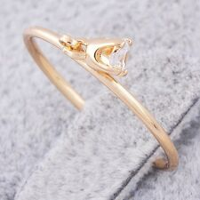 Delicate Womens Clear Cubic Zirconia Charm Band Ring Yellow Gold Filled Size 7