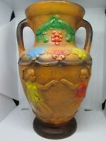 "Vase Norleans Japan Double Handled  Footed Embossed Hand Painted Urn 8"" Vintage"