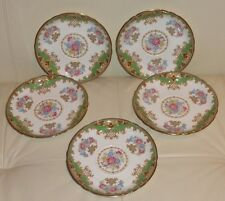 5 SHELLEY SHERATON GREEN #13290 Saucers for Cream Cups