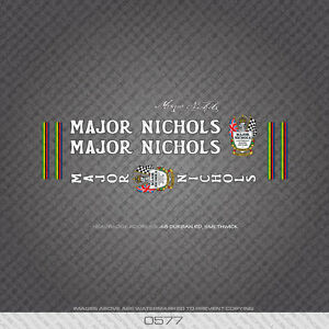 0577 Major Nichols Bicycle Frame Stickers - Decals - Transfers