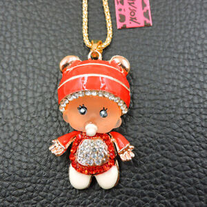 Hot Red Cute Rhinestone Hat Pacifier Baby Pendant Betsey Johnson Chain Necklace