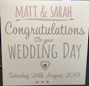 Handmade Personalised Wedding Day Card Silver Sparkly Heart FREE CONFETTI 💖