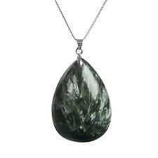 Genuine Natural Green Seraphinite Gemstone Water Drop Pendant 42x30x10mm AAAA