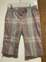 BURBERRY LONDON WOMEN'S Purple Blue PLAID NOVA CHECK Knee-length SHORTS  US 6