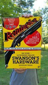 OLD VINTAGE DATED 1931 SWANSON'S HARDWARE REMINGTON GUN PORCELAIN ENAMEL SIGN