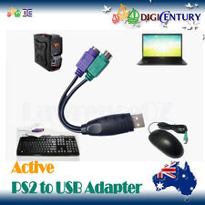 Active USB Male to 2 PS2 PS/2 Female Adapter Connector Compatible Mouse Keyboard