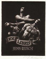 Jens Rusch (D) Mannl. Akt Ballett exlibris Male Ballet Dancers C7 Mezzotint 1982
