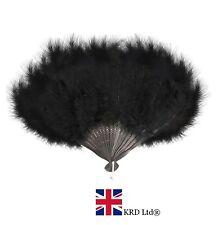 BLACK FEATHER FAN Hand Held Ladies Burlesque Fancy Dress Costume 20s Flapper UK