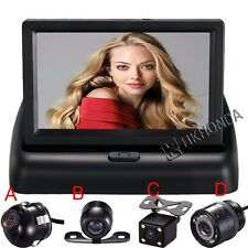 "4.3"" 2AV Car Rear View Monitor Screen + 4 LED CCD Back up Reverse Camera color"