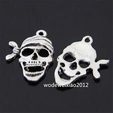 12x Retro Tibetan Silver Pirate Skull Pendant Charms Beads Accessories PL068