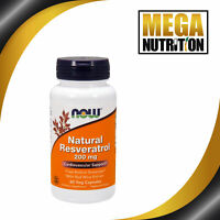 NOW Foods Natural Resveratrol 200mg 60 Veg Capsules   Cardiovascular Support