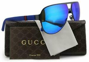 ✅ GUCCI Blue Mirror GG2252/S R63Z0 Semi Matte Aviator Sunglasses 62-13-135mm