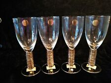 BLOCK CRYSTAL HALLO GOLD WATER GLASSES (4) MADE IN POLAND NEW W TAGS