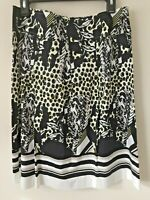 Focus 2000 skirt Size 12 black white gray geometric below knee dots stripes
