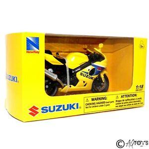Suzuki GSX-R600 1:18 Scale Model Toy Motorcycle Motorbike Yellow NewRay