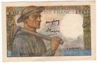FRANKREICH 10 FRANKEN KLEINER 4.12.1947 TTB