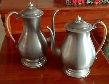 Set of 2 Hanle Distinctive American Pewter Tea & Coffee Pot Pewter, Rattan Grip