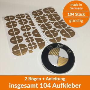 104x BMW Aufkleber Carbon Gold 3D Ecken Emblem Logo - Felgen Tuning 1 2 3 4 5...