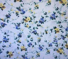 Laura Ashley Priory Twin Flat Sheet Blue Yellow Floral 1987