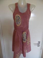"Dark brown sleeveless 27"" roundneck 100% rayon sunpattern summer sun dress sizeL"