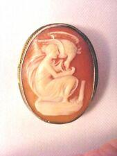 Shell Cameo Vintage Brooch Pendant 800 Silver Image Lady Feeding Bird Used