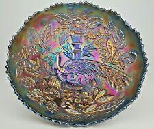 Fenton Peacock & Urn Cobalt Blue Iridescent Luster Carnival Glass Sawtooth Bowl