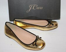 NEW JCrew $138 Lily Ballet Flats in Crackled Leather Sz 8 Gold Black G7845