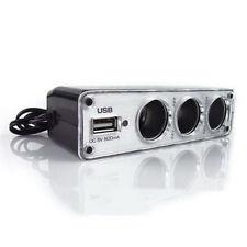 Car Cigarette Light Multi Socket 3 Way + USB Port Charger Adapter DC 12V Witt Vv