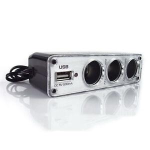 Car Cigarette Lighter Multi Socket 3Way+USB Port Charger Adapter DC 12V Witt yt
