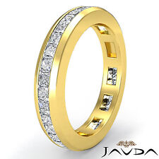 Channel Princess Diamond Wedding Ring Eternity Women Band 14k Yellow Gold 1.3Ct