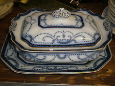FLOW BLUE-Burgess & Leigh Burleigh Ware BELVOIR Rectangular Vegetable w/Underplt