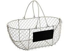 Vintage Chic Wire Metal Basket Oval Rustic White Garden Chalkboard Wedding Trug