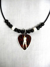 68 TV SPECIAL COLOR ELVIS PRESLEY PHOTO GUITAR PICK PENDANT ADJ NECKLACE w BEADS