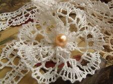 Antique HAND Vtg Fine Bobbin Lace Trim FRENCH DRESS DOLL Bridal WHITE - Per Yard