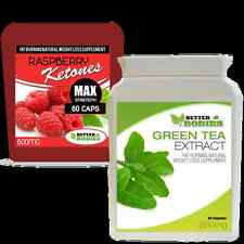 60 RASPBERRY KETONE STRONG 600MG & 60 GREEN TEA ECTRACT 850MG WEIGHT LOSS DIET